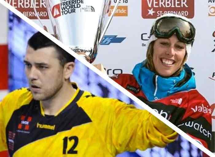 Photo de nos ambassadeurs : Elodie Mouthon snowboardeuse française championne du Freeride World Tour 2013 et Yann Genty gardien de but au handball, licencié au Chambéry Savoie Mont-Blanc Handball