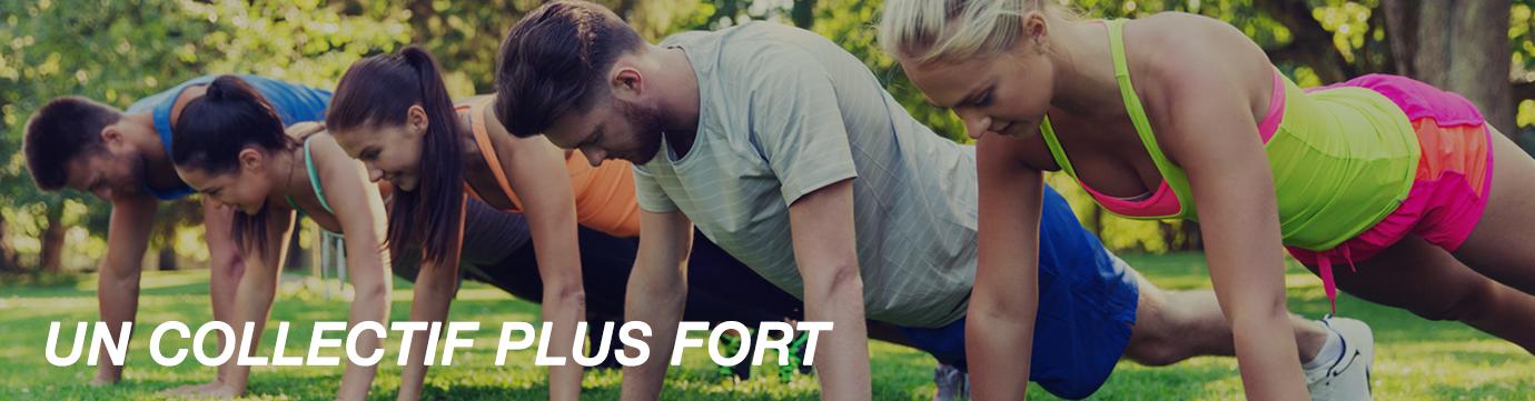 Un groupe de collaborateur en position de gainage pour représenter un collectif plus fort par la pratique d'un sport.